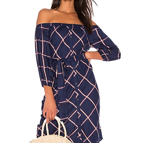Splendid Womens Off Shoulder Striped Dress